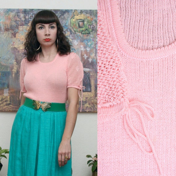 Vintage 70s Pink Crochet Sweater Top Medium