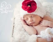 Download PDF CROCHET PATTERN 007 - Hat with Poppy - Multiple sizes from newborn through age 4
