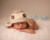 Download PDF crochet pattern 022 - Aviator hat - Multiple sizes from newborn through age 4