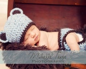 Download PDF crochet pattern - My Little Bear hat and diaper cover - Photography Prop
