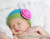 Download PDF crochet pattern 040 - Beanie with Rose - Multiple sizes from newborn through age 4