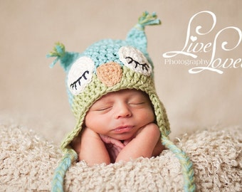 Download PDF crochet pattern 009 - Sleepy Owl hat - Multiple sizes from newborn through age 4