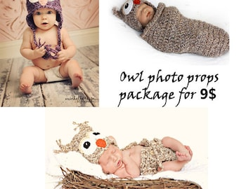 Download PDF crochet patterns - Owl Photo Props Package