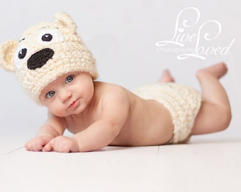 Download PDF crochet pattern - Teddy-Bear hat and diaper cover