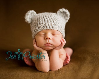 Download PDF knittingpattern k-01 - Newborn Baby-bear hat