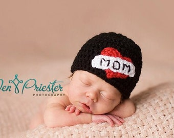 Download PDF crochet pattern 020 - I Love Mom beanie - Multiple sizes from newborn through 12 months