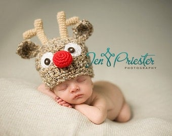 Download PDF crochet pattern 023 - Reindeer hat- Multiple sizes from newborn through 12 months