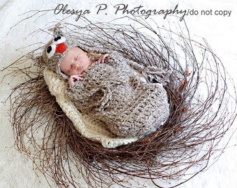 Download PDF crochet pattern s012 - Newborn Owl hat and cocoon - Photography prop