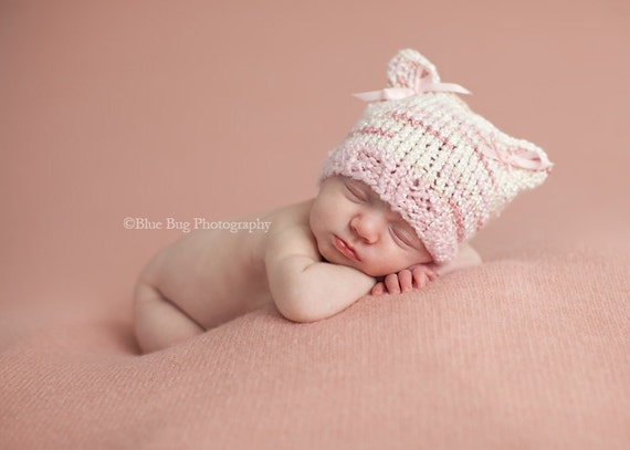 Download PDF knitting pattern k-02 - Newborn Kitty hat