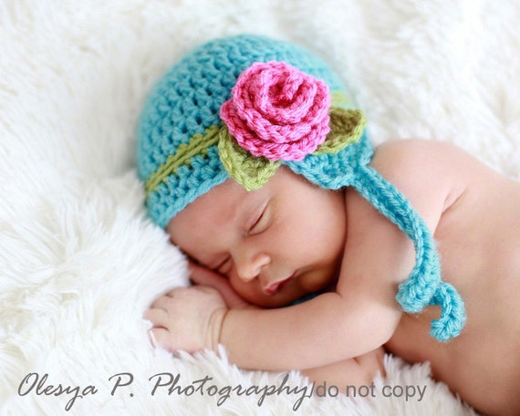 Download PDF crochet pattern 032 - Earflap hat with Rose - Multiple sizes from newborn through age 4