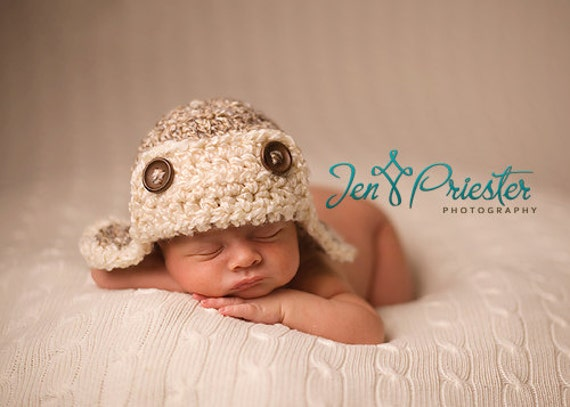 Download PDF crochet pattern 022 - Aviator hat - Multiple sizes from newborn through age 4