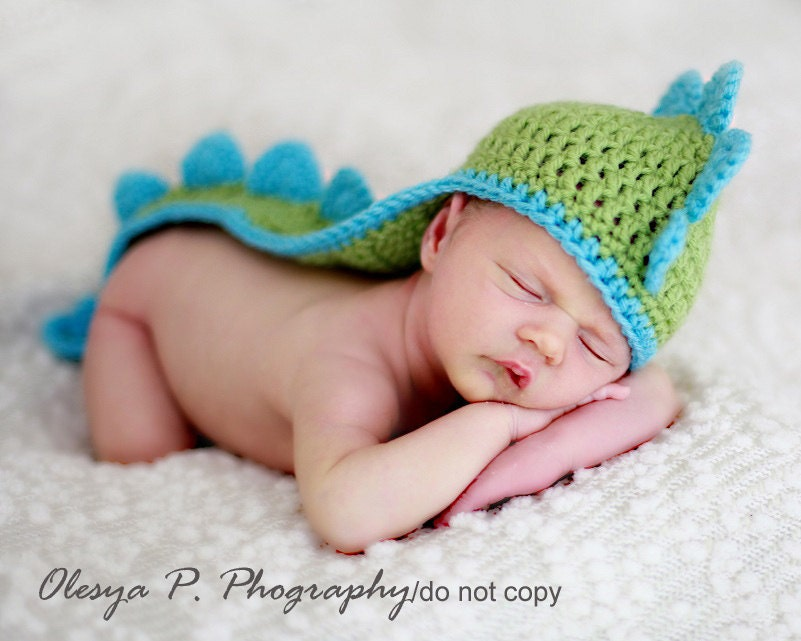Crochet Newborn Hats : Download PDF crochet pattern 042 Dino hat by BeezyMomsCreations