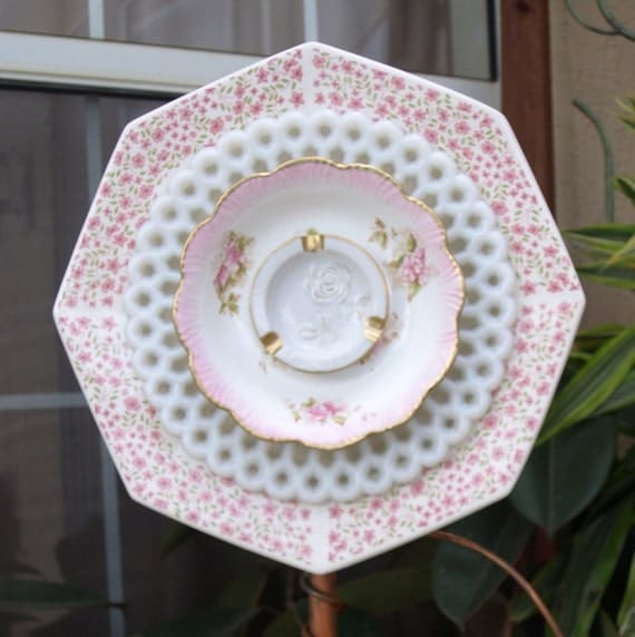 Glass Plate Flower  repurpose pink white roses floral shabby chic No-Kill Ever-Blooming garden art ooak