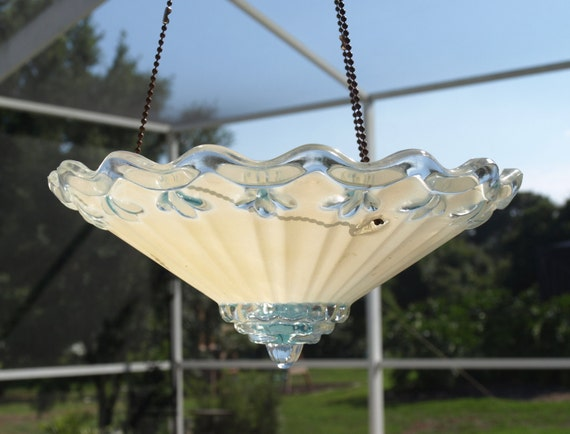 repurpose light fixture hanging planter bird feeder candle holder yellow