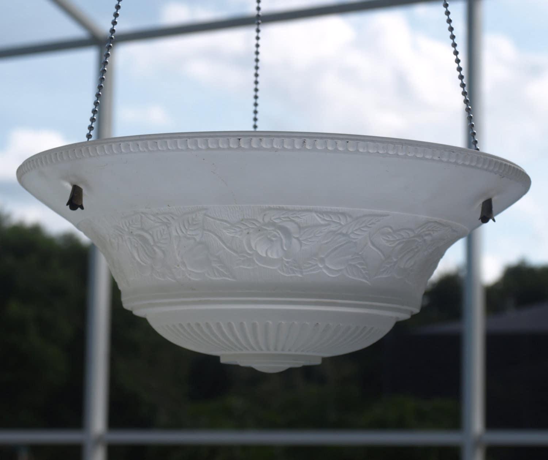 Hanging Light With Planter: Vintage Hanging Light Fixture Bird Feeder Repurpose Planter
