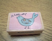 Wood Mounted A Little Note Rubber Stamp