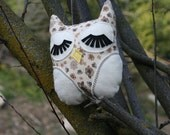 Handmade Owl Pillow with Cotton Flower and Butterfly Patterned Fabric and Felt Eyes and Wings