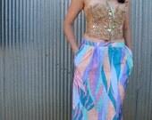 Vintage 1980s High Waist Pastel RAINBOW Pencil Skirt with Pockets