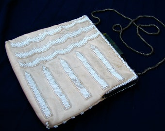 Vintage ART DECO BEADED Leather Handbag Purse in Nude and White