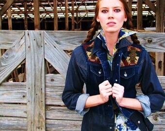 Vintage 1980s ROUGHRIDER Cowgirl DENIM VEST Southwestern Detail
