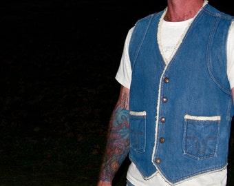 Vintage 1970s BIG SMITH Denim Jean Vest  WESTERN Cowboy