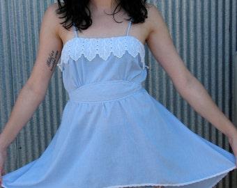 Vintage 1980s Gingham Prarie SKIRTED Top BLOUSE Dress
