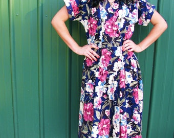 Vintage 1980s FLORAL Cotton SUMMER DRESS in Navy and Pink