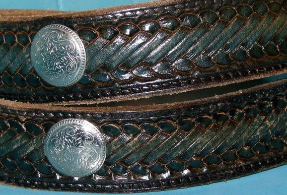 Vintage 1970s LEATHER Tooled Western COWBOY Belt with Silver Detail