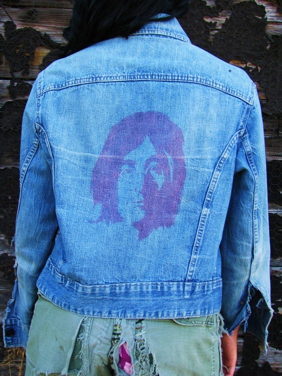 Vintage 1970s JOHN LENNON The Beatles Denim Jacket Collector's Item Rocker Memorabilia