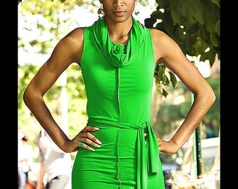 Bright green Cowl neck Dress