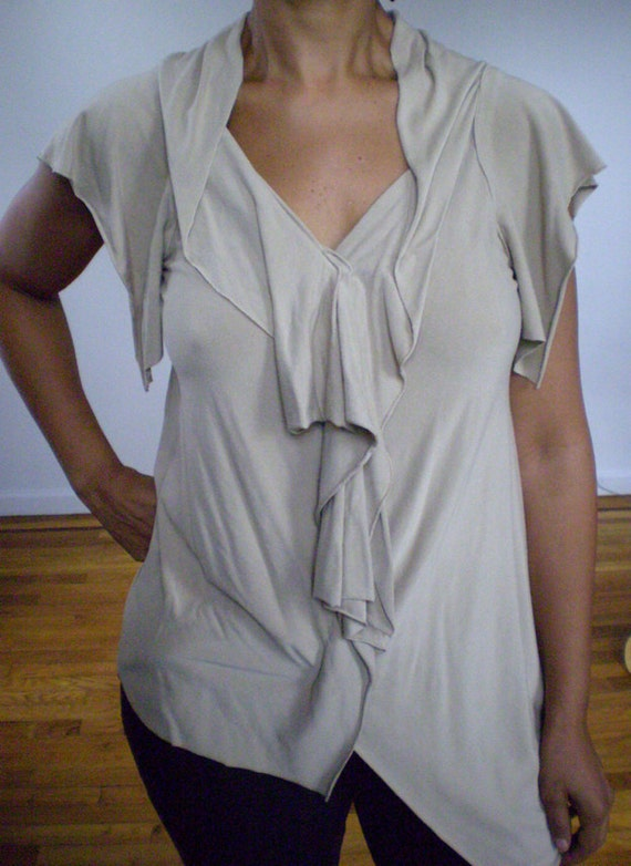 Taupe  V Neck Tunic,fabric is rayon cotton jersey,drape sleeve,v neck,many colors avail,custom order by Cheryl Johnston