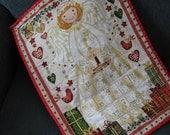 Advent Calendar Christmas Angel, Christmas Decoration, Holiday Decor, Wallhanging, Cream Gold Christmas, Baby Girl Christmas