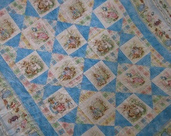 Baby Quilt Peter Rabbit and Friends, Beatrix Potter Nursery, Baby Boy Quilt, Blue Quilt MADE TO ORDER