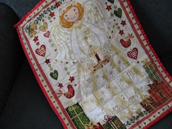 Advent Calendar Christmas Angel, Christmas Decoration, Holiday Decor, Wallhanging, Cream Gold Christmas, Baby Girl Christmas