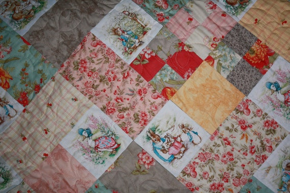 Shabby Chic Baby Quilt Peter Rabbit Jemima Puddleduck Mrs Rabbit MADE TO ORDER