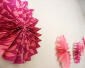 Pink and Printed Fan Flower Garland
