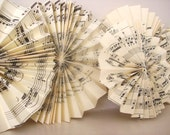 "Vintage Music Sheet Fan Flowers - Size- 1"" - 3"""
