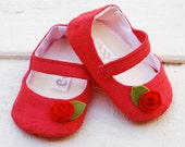 Coral Vermilion Dupioni Silk Baby Girl Mary Jane Shoes with Felt Rosette.