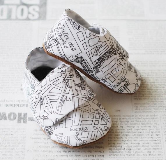 Paris Street Map Baby Loafers Booties for Baby Boy or Baby Girl