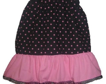 Pillowcase Dress & Pants Set Black and Pink Polka Dots Boutique 12/18M 24M/2T 3T/4T 5/6 Pageant New