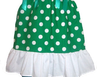 Pillowcase Dress & Pants Set Green and White Polka Dots Boutique 12/18M 24M/2T 3T/4T 5/6 Pageant New