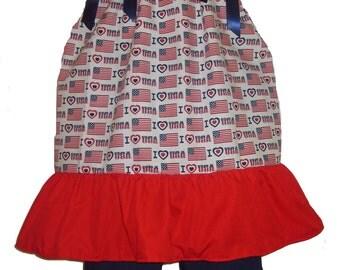 Pillowcase Dress & Pants Set Patriotic 4th July USA Flag Boutique 12/18m 24m/2T 3T/4T 5/6 PAGEANT