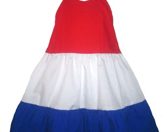 Halter Summer Dress Red White & Blue Boutique 12/18m 24m/2T 3T/4T 5/6 PAGEANT New