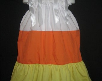 Pillowcase Dress Candy Corn Halloween Costume Boutique 12/18M 24M/2T 3T/4T 5/6 Pageant New