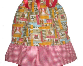 Pillowcase Dress & Pants Set Christmas Print Boutique 12/18M 24M/2T 3T/4T 5/6 Pageant New