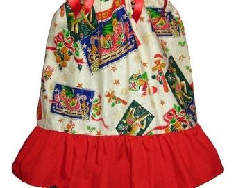 Pillowcase Dress & Pants Set Christmas Vintage Sleigh Reindeer Boutique 12/18M 24M/2T 3T/4T 5/6 Pageant