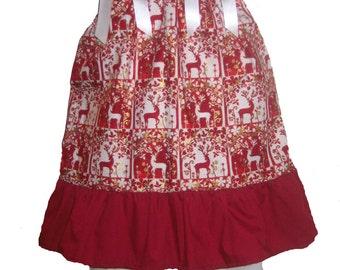 Pillowcase Dress & Pants Set Christmas Maroon Reindeer Boutique 12/18M 24M/2T 3T/4T Pageant
