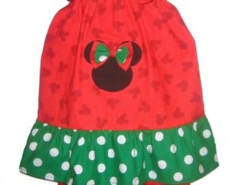 Pillowcase Dress & Pants Set Christmas Disney Minnie Mouse Polka Dots Boutique 12/18M 24M/2T 3T/4T Pageant