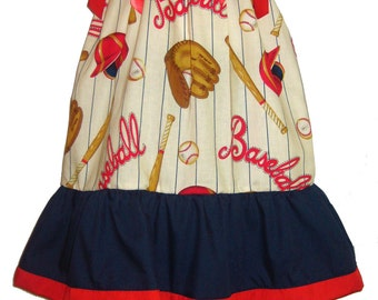Pillowcase Dress & Pants Set Sports Baseball Classic Boutique 12/18M 24M/2T 3T/4T 5/6 Pageant New