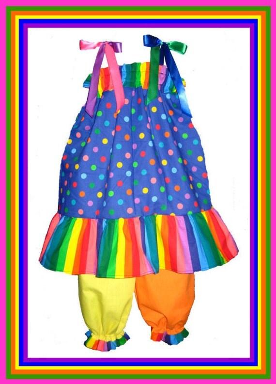 Pillowcase Dress & Pants Set Clown Halloween Costume Boutique 24M/2T 3T/4T Pageant